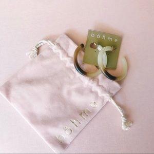 """Bohme """"Ivory"""" Hoop Earrings with drawstring bag"""